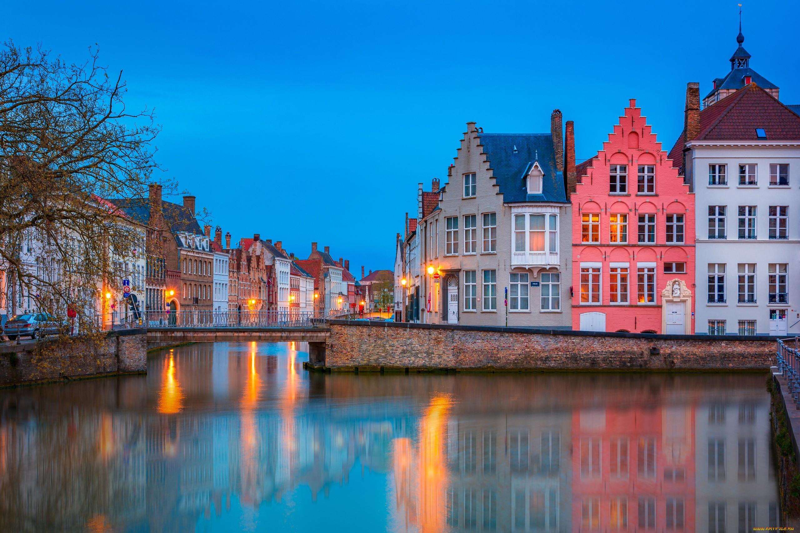 города, брюгге , бельгия, канал, мост, вечер, огни